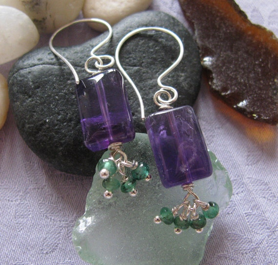 New Price 50% Off : Amethyst and Emerald, Purple and Green, Earrings Feburary and May Birthstone