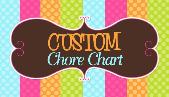Custom Chore chart - DIY - Digital PDF File -ONLY purchase if you purchased regular chore chart