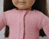 American Girl Doll Clothes -- Handknit Wool Cardigan Sweater in Pink with matching buttons