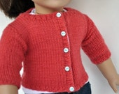 American Girl Doll Clothes -- Handknit Wool Cardigan in Coral with Aqua Buttons