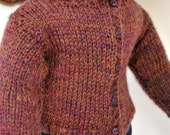 American Girl Doll Clothes -- Handknit Wool Cardigan Sweater in Chocolate Raspberry Heather with contrast buttons