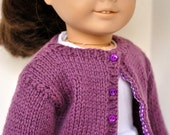 American Girl Doll Clothes -- Handknit Wool Cardigan Sweater in Plum with matching buttons