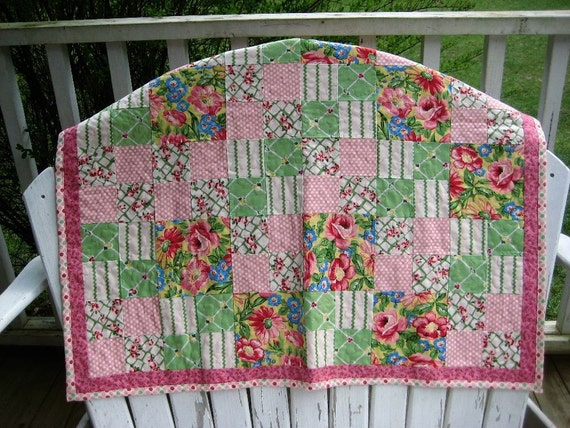 Pink, Green, White Floral Garden Quilted Baby Girl Blanket with Minky by MOMnI