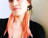 SALE - Peach Sherbet Extra Long Feather Earrings - with Handcarved Floral Bone Beads