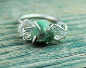 Emerald & Herkimer Diamond Sterling Silver Ring - your size