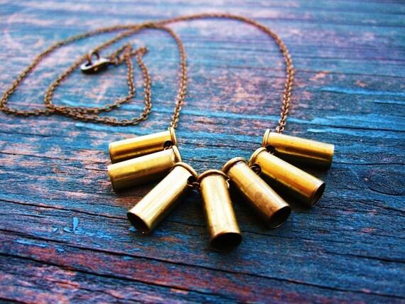 Bullet Casing Fringe Necklace