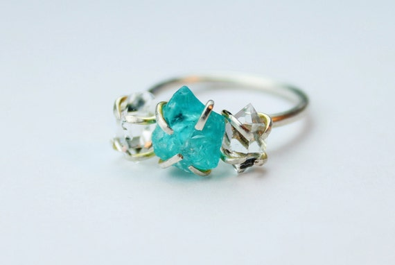 35% off SALE - Blue Apatite & Herkimer Diamond Sterling Silver Ring - size 6.5
