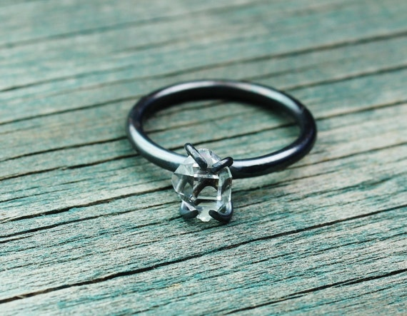 Herkimer Diamond Solitaire & Oxidized Sterling Silver Ring - Your Size