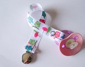 Pink, green and blue owls pacifier clip