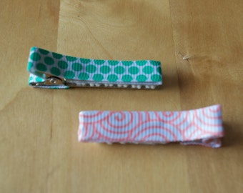 Teal dots and pink swirls hair clips - set of two