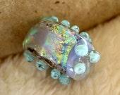 Lampwork Glass Bobbin Bead in Dichroic