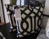 "READY TO SHIP! Pair of 18"" X 18"" Imperial Trellis Inspired Pillow Covers - Black and Ivory"