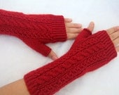 Fingerless Mittens-Cable Knit Fingerless Gloves-Red Fingerless Gloves