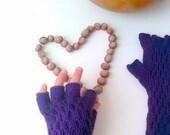 Purple Half Finger- Fingerless Gloves