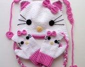 Crochet Kitty Hat,kitty mitten,hair band -for Baby or Toddler-Baby Girl Hat