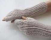 Oatmeal Colored  Half Finger- Fingerless Gloves
