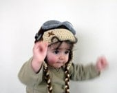 Crochet Aviator Hat Set with Goggles - tan and beige- for baby or children