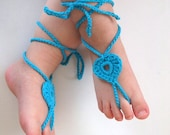 Baby Lace Sandals-Crochet Baby Barefoot Sandals-Beach Anklet Yoga,Bridal Cuff Gypsy Lace Sandals Crochet Sandals-Your choice of color