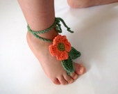 Pinkish Orange Daisy Baby Barefoot Sandals-Crochet Baby Barefoot Sandals-Beach Anklet Yoga,Bridal Cuff Gypsy -Your choice of color