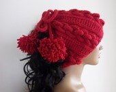 RED Knitting Hat or cowl,scarf-Pon pon hat