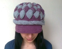 Grape Juice and Gray Slouchy Newsboy Cap -Button- Handmade-Knitted newsboy brimmed slouch hat