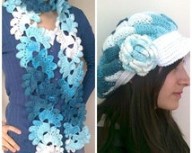 Colored Slouch-Behind baggy beret - Entrelac Hat and Crocheted Lace Scarf (shades of turquoise)-for 1 hat and 1 scarf.