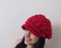 Red Slouchy Newsboy Cap -Button- Handmade-Knitted newsboy brimmed slouch hat