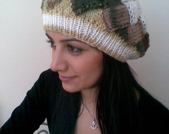 Colored slouch hat-Behind baggy beret (autumn color)