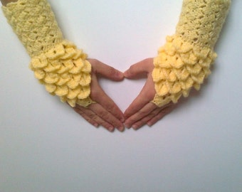 Crocodile Stitch Yellow Gauntlets-Fingerless Gloves, Arm Warmers