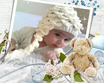 Crocodile Stitch Ecru Baby Hat - for Baby or Toddler