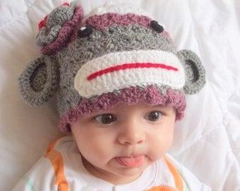 Sock Monkey Hat -crochet Baby  Hat  - for Baby or Toddler-Baby Girl Hat