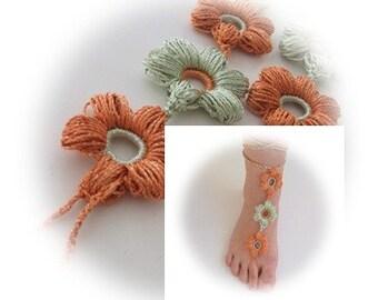 Flower Lace Sandals,tinsel glitter ,Gypsy,Beach, belly dancer,Pool,Yoga, Hand Crochet,Victorian, Sexy,Lolita,Hippie, Old fashioned