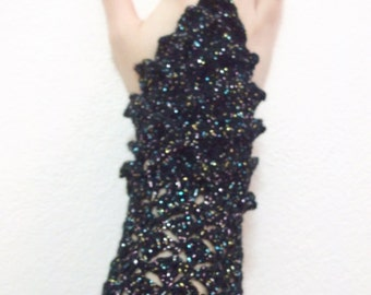 Crocodile Stitch Black and Bright Gauntlets-Fingerless Gloves