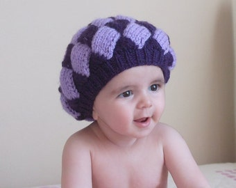 Lilac and dark blue baby slouch hat-berets(3-9months)