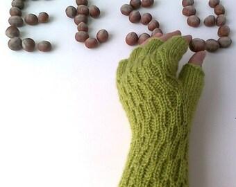Green Half Finger- Fingerless Gloves
