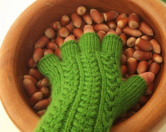 Clover Green Half Finger- Fingerless Gloves