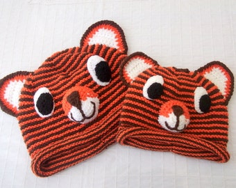 Tiger Hat -Knitting Tiger Hat-father and son tiger hats-boy halloween costume