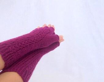Maroon Half Finger- Fingerless Gloves-READY TO SHIP