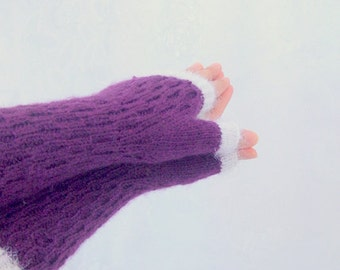 Purple-White Fingerless Gloves-READY TO SHIP
