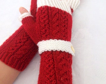 Red-White  Fingerless Gloves-READY TO SHIP-Fingerless Mittens-Cable Knit Fingerless Gloves