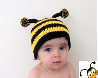 Crochet Bumblebee Hat-for photographers, photo prop for newborns -Newborn Baby Bumble Bee Spring Hat-Baby Girl or Boy Hat