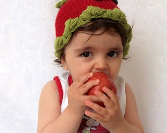 Red Apple Hat -Crocheted Baby  Hat  - for Baby or Toddler-Baby Girl or Boy Hat