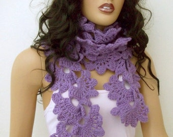 Violet Crocheted Lace Scarf