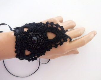 Black  lace gloves,Crochet lace,cuffs, fingerless gloves,arm cuff, lace gloves,Bead embroider,Luminoused