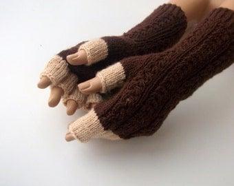 Brown and Beige Half Finger- Fingerless Gloves-unisex