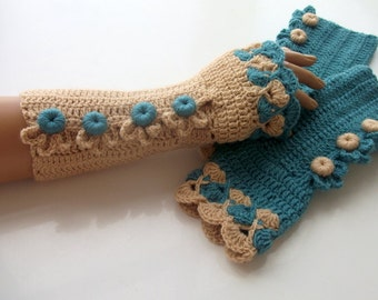 Oil Green and Camel Color Crochet Fingerless Gloves/oil-green button/Fingerless-Victorian gloves