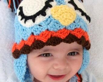 Blue Owl Hat -Crochet Baby  Hat-boy halloween costume
