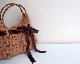 SALE SALE-Hand Knit /Camel Handbag