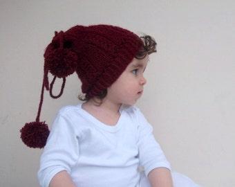 Burgundy Knitting Hat - Baby/Toddler/Children-Crocheted Baby  Hat  - for girls
