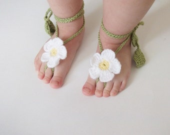 Daisy Baby Lace Sandals-Crochet Baby Barefoot Sandals-Beach Anklet Yoga,Bridal Cuff Gypsy Lace Sandals Crochet Sandals-Your choice of color